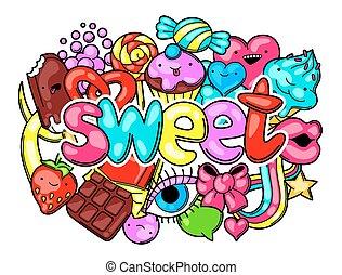 kawaii, fou, candies., style, bonbons, sweet-stuff, impression, dessin animé