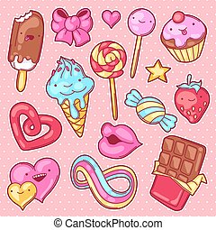kawaii, fou, ensemble, candies., style, bonbons, sweet-stuff, dessin animé