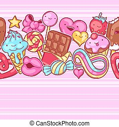 kawaii, fou, modèle, candies., seamless, bonbons, sweet-stuff, style, dessin animé