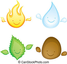 Kawaii four elements - Four elements in the form of smiling...