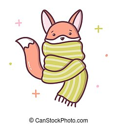 The Fox froze and wrapped himself in a big scarf. Kawaii cartoon character isolated on a white background. Vector illustration.