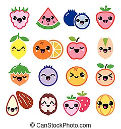 Kawaii fruit and nuts cute characte - Vector icons set of ...