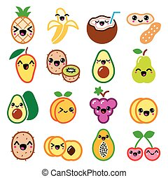 Kawaii fruit and nuts cute characters icons set - Vector ...