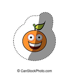 kawaii fruit orange happy icon