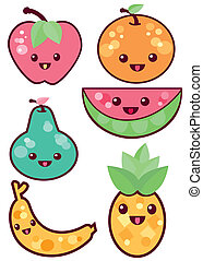 Kawaii fruits - is an illustration in an EPS file