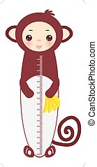 Kawaii funny monkey holding bananas, muzzle with pink cheeks and big black eyes isolated on white background Children height meter wall sticker, kids measure. Vector