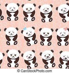 Kawaii funny panda seamless pattern on pink background, white muzzle with pink cheeks and big black eyes. Vector