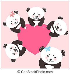 Kawaii funny panda white muzzle with pink cheeks and big black eyes. Card design with a funny animal with pink heart on pink  background. Vector