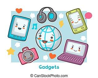 Kawaii Gadgets Funny Card Doodles With Pretty Facial