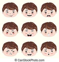 kawaii, garçon, tête, émotions
