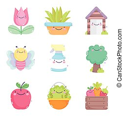 kawaii gardening cartoon characters tools collection