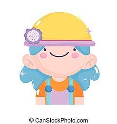 kawaii gardening cartoon cute girl wearing hat with flower