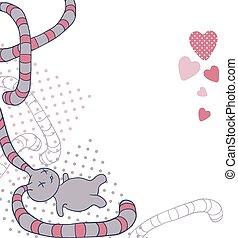 kawaii, gekke , doodle., illustratie, vector, achtergrond