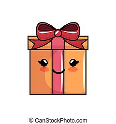 kawaii gift box bow present icon