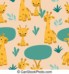 Kawaii giraffes in a repeated pattern