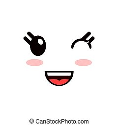 kawaii, glücklich, ausdruck, gesichtsbehandlung, ikone
