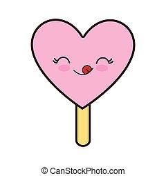 Kawaii Graphique Glace Vecteur Icon Dessin Anime Creme Kawaii Coeur Graphique Illustration Plat Dessert Isole Canstock