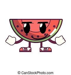 kawaii happy slice watermelon fruit