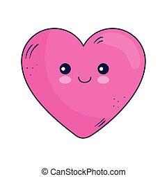 Kawaii heart cartoon vector design
