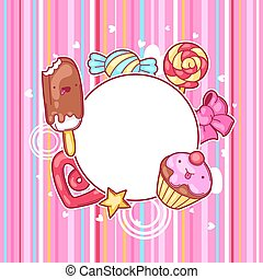 Kawaii heart frame with sweets and candies. Crazy sweet-...