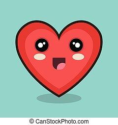 kawaii heart happy red design