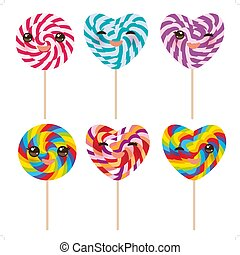 Kawaii Heart shaped candy lollipop with pink cheeks and winking eyes, colorful spiral candy cane. Candy on stick with twisted design on white background. Vector
