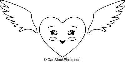 Kawaii heart with wings. Heart - Valentine with cute kawaii face and angel wings - vector linear picture for coloring. Outline. Hand drawing.