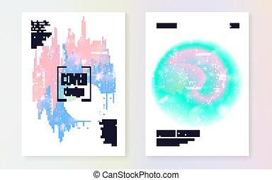 kawaii, holographic, hologr, gradient., arrière-plan., licorne, princesse