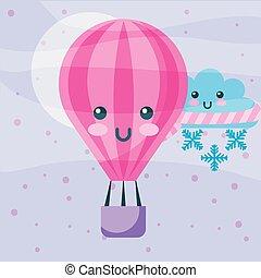 kawaii hot air balloon winter cloud with scarf snowflake cartoon