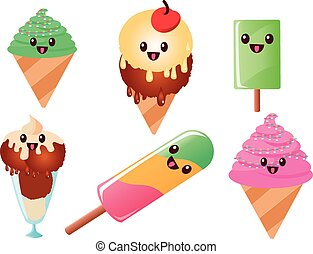 kawaii ice cream and popsicles