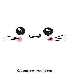 kawaii icon, cute attractive face, white background