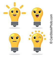 Kawaii icon. light bulb Cartoon design. Vector graphic