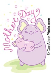 Kawaii illustration of a cute mother mouse holding her baby in her arms with lettering.Illustration.