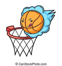 Kawaii illustration of basketball basket and ball.