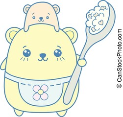 Kawaii illustration of cute mother bear holding a spoon of cornflakes  with her son bear.Illustration.
