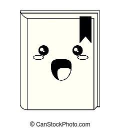 kawaii, isolé, dessin animé, livre, noir, blanc, sourire