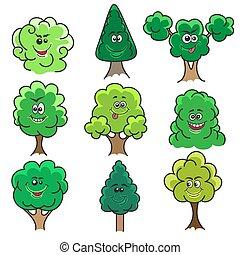 kawaii, komplet, drzewa
