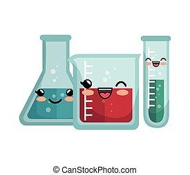 kawaii laboratory equipment flasks with liquid