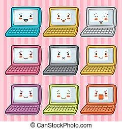 kawaii, laptops , γράφω άσκοπα , set., εικόνα , εξάρτημα , διάφορος , έκφραση προσώπου
