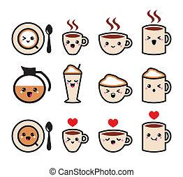 kawaii, lindo, café, iconos