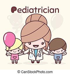 kawaii, lindo, characters., professions., pediatrician.,...