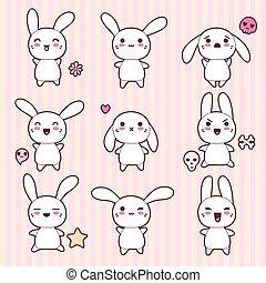 kawaii, lindo, conejos, divertido, colección, feliz