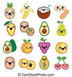 kawaii, lindo, conjunto, iconos, nueces, fruta, caracteres