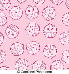 kawaii, lindo, cupcakes., patrón, seamless, caricatura