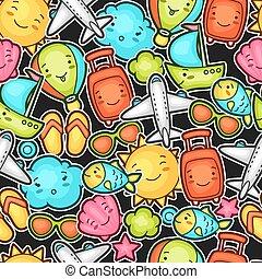 kawaii, lindo, globo, caracteres, objetos, verano, patrón, ...
