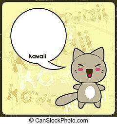 kawaii, lindo, grunge, gato, fondo., tarjeta