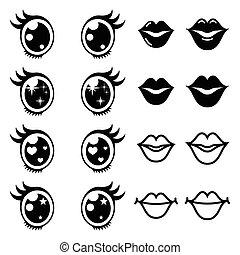 kawaii, lindo, ojos, conjunto, iconos, labios