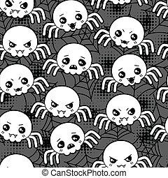 kawaii, lindo, patrón, halloween, seamless, spiders., ...