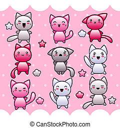 kawaii, lindo, tarjeta, cats., garabato