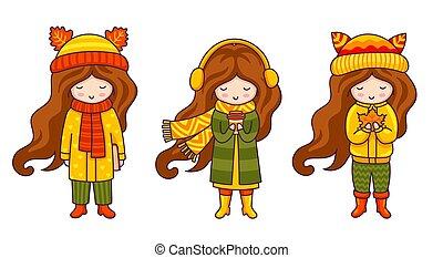 Kawaii little girls. Cute cartoon characters.